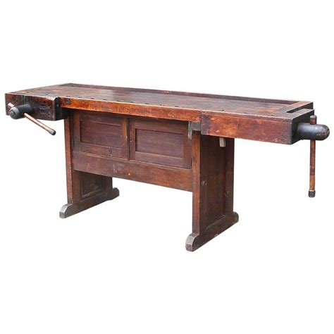 industrial work bench industrial cabinet maker s workbench attributed to