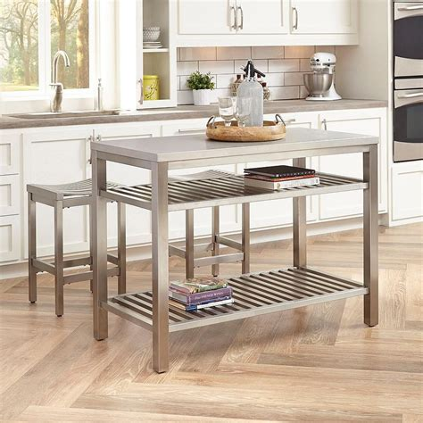 metal kitchen island small stainless steel islands for the space savvy modern
