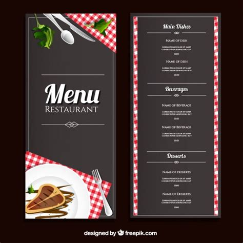 free menu template restaurant menu template vector premium