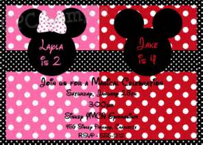 siblings personalized mickey and minnie mouse polka dot invitations