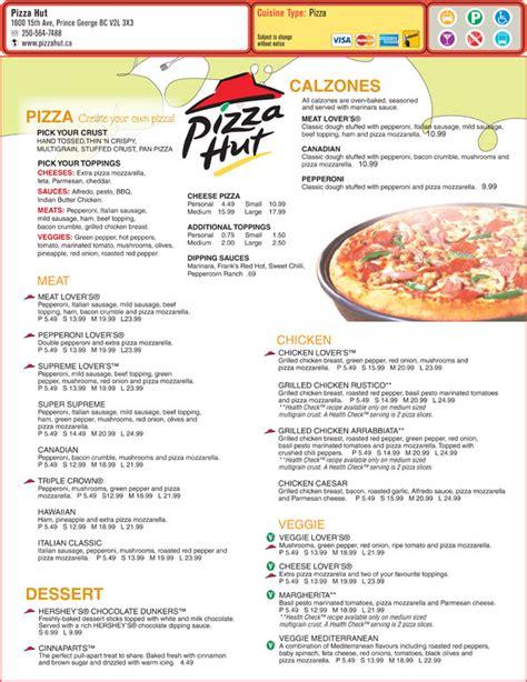 Printable Pizza Menu