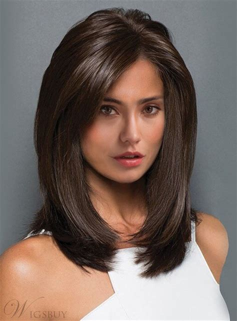 middle length straight blunt cut synthetic capless wigs  inches wigsbuycom