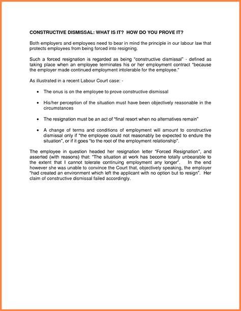 Resignation Letter Breaking Contract 9 Constructive Dismissal Resignation Letter Template Insurance Letter