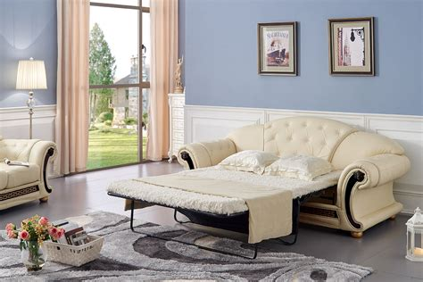pull out sleeper sofa versace luxury button tufted ivory leather pull