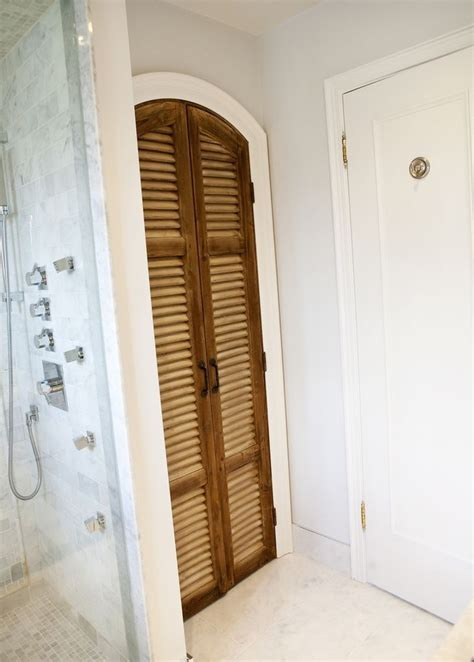Bathroom Linen Closet Doors Linen Closet Doors Powder Room Traditional With Beadboard Closet Curtained Doors