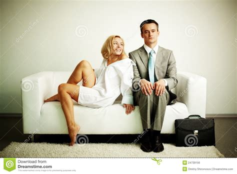 a man and a couch couple on sofa stock photo image of expression lifestyle