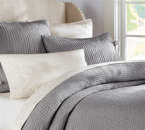 grey coverlet queen pick stitch quilt sham pottery barn flagstone grey or