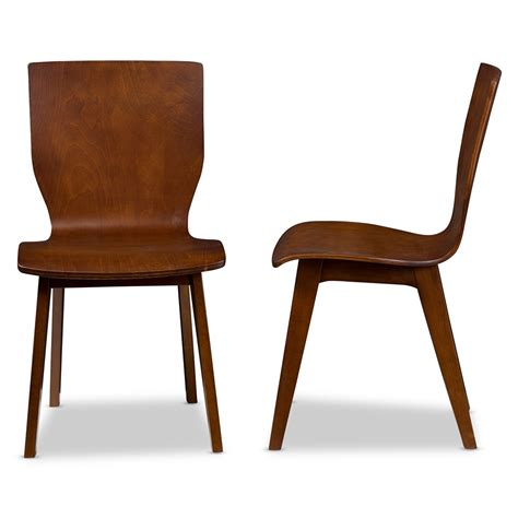 Modern Wood Dining Chair Baxton Studio Elsa Mid Century Modern Scandinavian Style Walnut Bent Wood Dining Chair