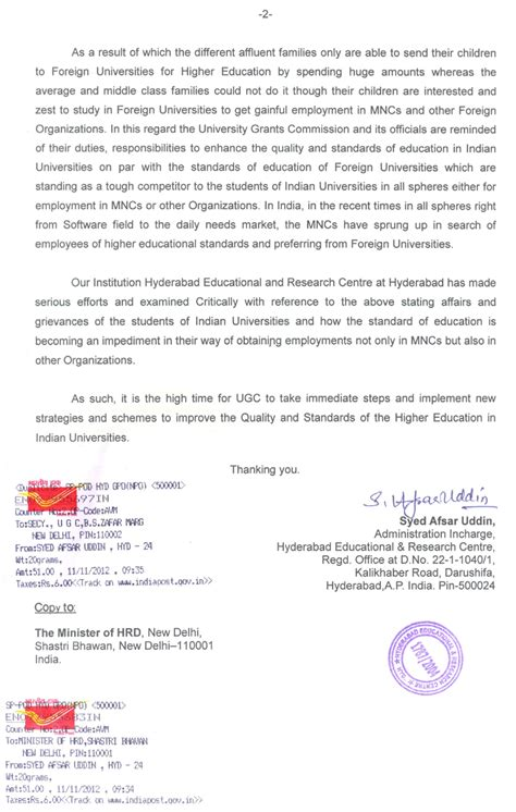 Official Letter Correspondence Hyderc Hyderabad Educational And Research Centre