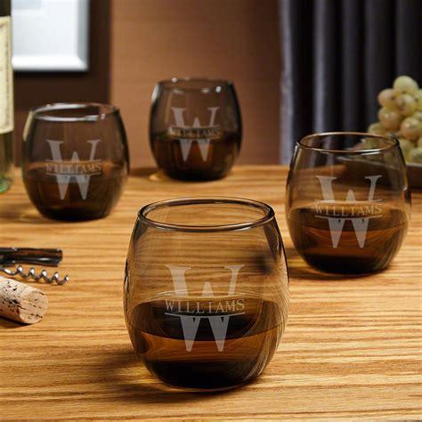 oakmont personalized stemless wine glass set smoke