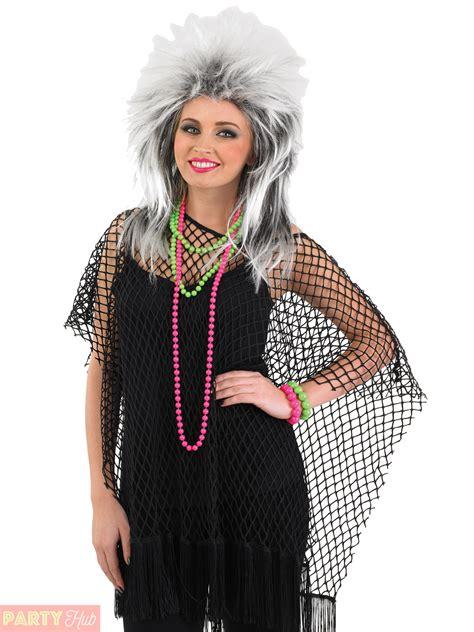 Mesh Costume mesh top 80s rocker fancy dress womens fishnet
