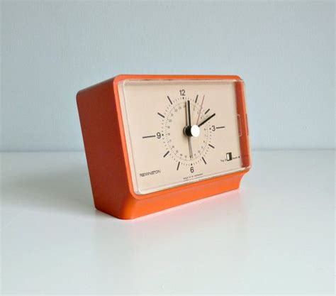 mid century modern alarm clock nectarine orange pantone remington w germany 1960 s home