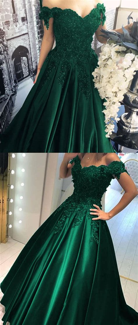 Murena Black Green lace flower the shoulder satin prom dresses gowns robe du soir mariages verts