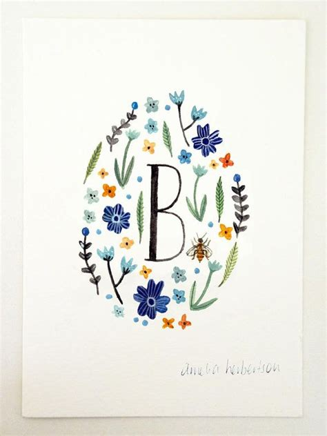 monogram letter b floral art print