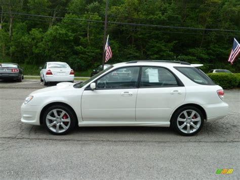 white subaru impreza hatchback satin white pearl 2007 subaru impreza wrx wagon exterior