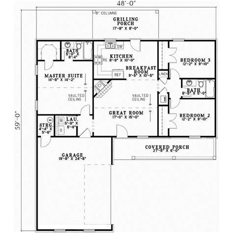 Ranch Style House Plans 1224 Square Foot Home 1 Story Ranch House Plans No Garage Three Bedrooms