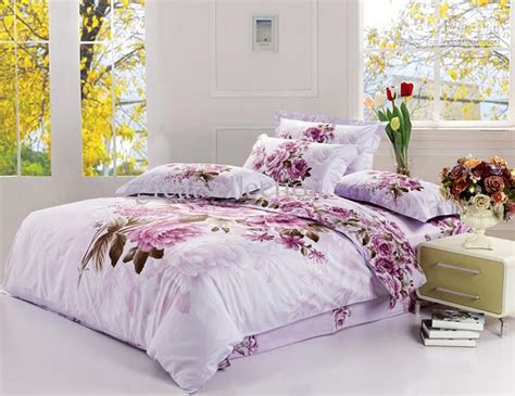 Best Bedsheet New King Size Bedding Set Purple Floral Quilt Cover Bed