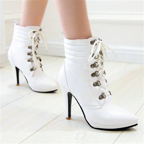 womans white boots white heel booties qu heel