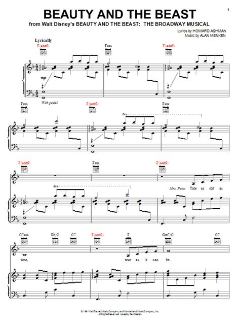 beauty and the beast chord beauty and the beast sheet music by alan menken piano
