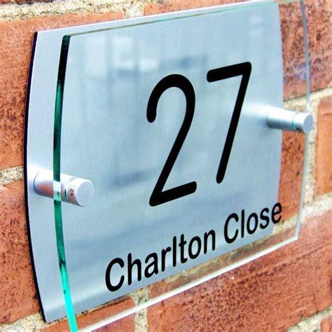 modern house number plaque door sign road name
