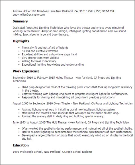 Lighting Engineer Cover Letter by Professional Props And Lighting Technician Templates To Showcase Your Talent Myperfectresume