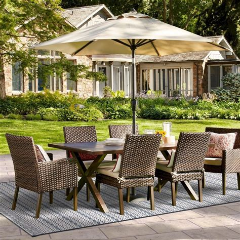 halsted 7 pc wicker patio dining set threshold