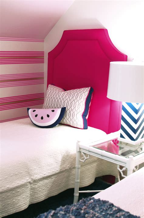 hot pink headboard contemporary girl s room lucy and
