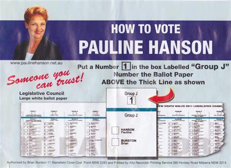 card how to pauline hanson how to vote card david mallard