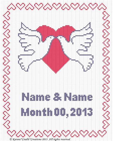 counted cross stitch ornament free patterns anniversary wedding counted cross stitch chart pattern 2