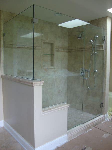 half wall frameless shower enclosure frameless glass shower shower half wall glass enclosure yahoo image search results remodel half walls