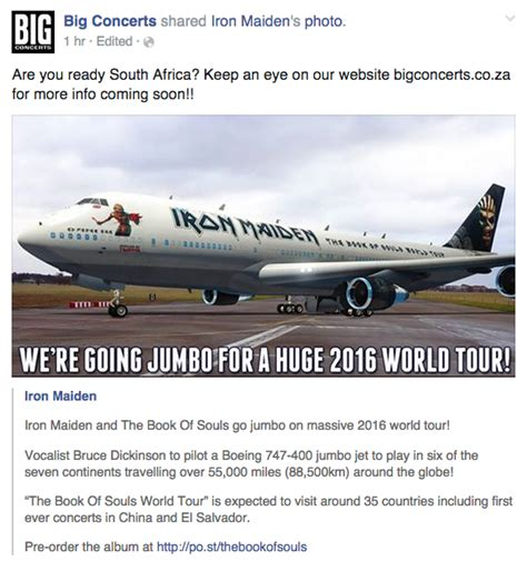 Big Concerts presents Iron Maiden South African tour 2016