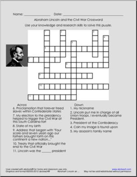 life of abraham lincoln crossword abraham lincoln crossword puzzle civil war worksheets