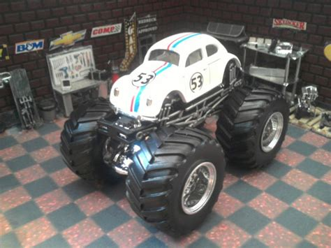Hotwheels Vw Herbie custom 1 64 volkswagen beetle herbie the bug wheels jam truck volkswagen