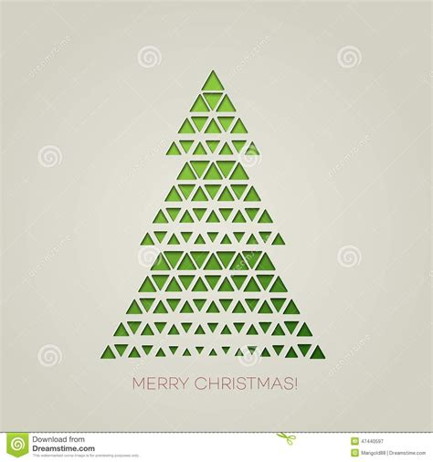triangle christmas tree pattern merry tree with triangle shape stock vector illustration of banner silhouette 47440597