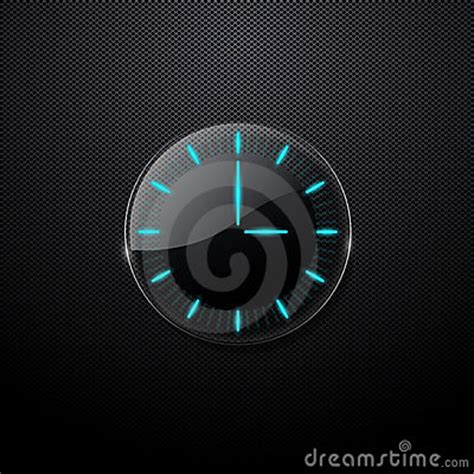 futuristic clock futuristic glass clock on black background stock photo