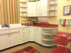 mid century kitchen colorful streaky wallpaper beside white storage for