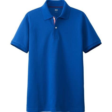 Uniqlo Pique Polo Shirt 2 uniqlo pique line sleeve polo shirt in blue for lyst