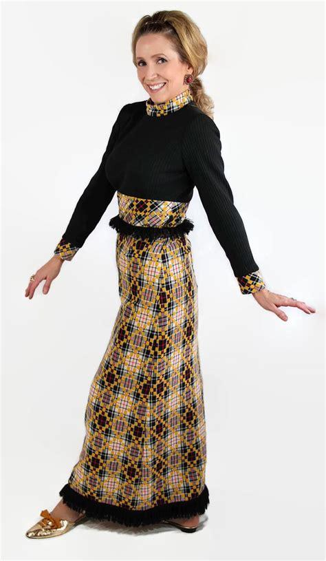 Bright Fringe Maxi Dress - 60s 70s maxi dress hippie boho plaid fringe novelty