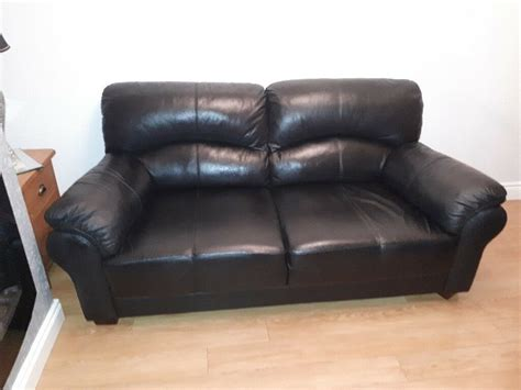 seater black leather sofa  lisburn county antrim gumtree