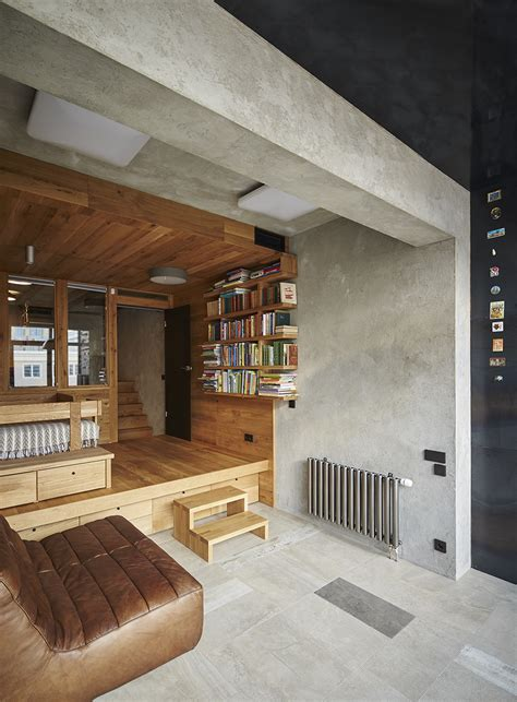 Exposed Concrete Interior by 175 Sqm Unique Apartment Interior Design With Inserted