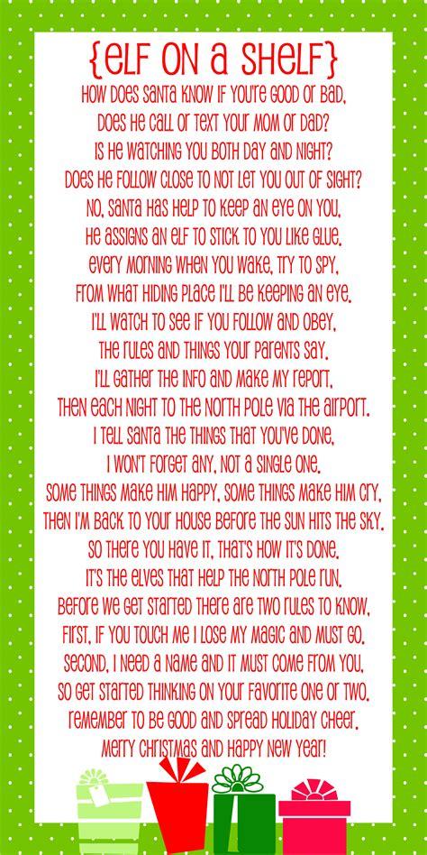 Elf on the Shelf Story   FREE Printable Poem   Lil' Luna