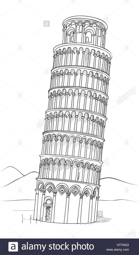 Tower Of Pisa Hand Drawn Vector Illustration Leaning Leaning Tower Of Pisa Coloring Page