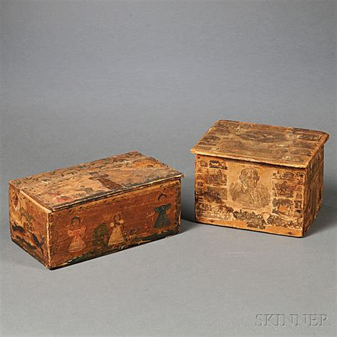 Decoupage Boxes For Sale - two decoupage decorated wooden boxes sale number 2785t