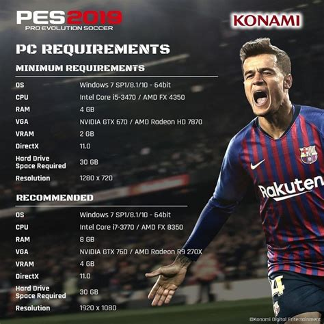 2020 minimum requirements pes 2019 pc minimum recommended requirements revealed