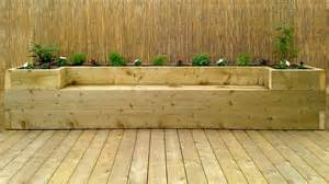 raised garden bed with bench seating softwood decking raised bed bench