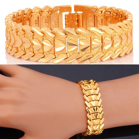 Yellow Gold Plated Bangles Bracelets Valentine's Day Gift Vintage Big Heart Men Jewelry