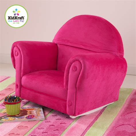Kidkraft upholstered rocker chair with slipcover in bubblegum color traditional kids chairs