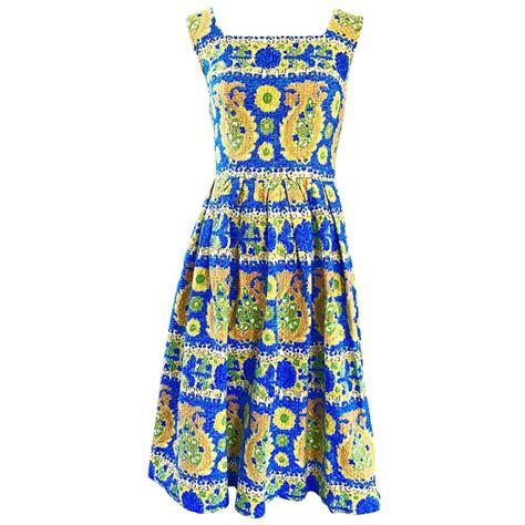 Cotton Dress Yellow Blue 30086 1950s baumwolle beautiful blue yellow vintage 50s sleeveless cotton sun dress at 1stdibs