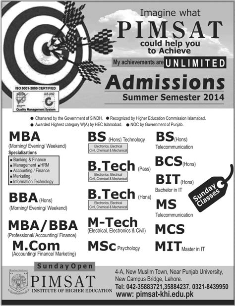Mit Open Mba by Admissions Pimsat Institute Of Higher Education Lahore