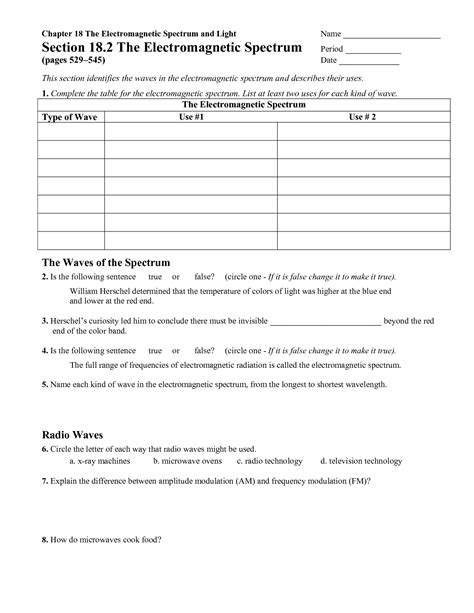 Electromagnetic Spectrum Worksheet Answers by 13 Best Images Of Light Worksheets For Middle School